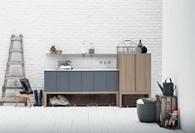 Acqua e Sapone timber laundry cabinet and sink