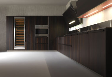 Effeti's BK1 kitchen featuring thermo structured oak wooden doors