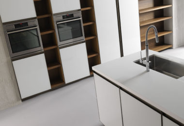 Effeti's Unika range of kitchen cabinetry in a gloss white lacquer finish