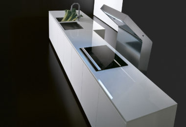 Effeti l'evoluzione kitchen bench in a gloss white laminate finish