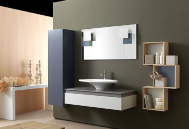 A slick, modern bathroom featuring Karol's KS bathroom collection