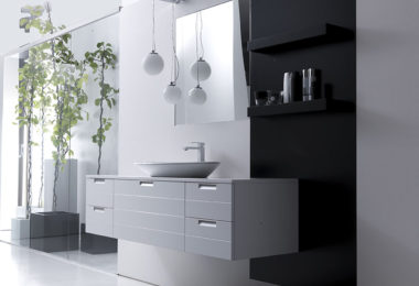 A floating bathroom vanity in a gloss white finish from Karol's Lignum collection