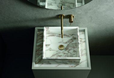 Aerial view of Altamarea's Must bathroom sink and vanity