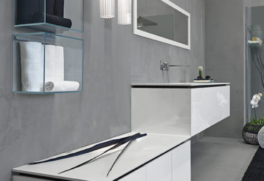 Sleek floating bathroom vanities from Rifra's K.Forty collection