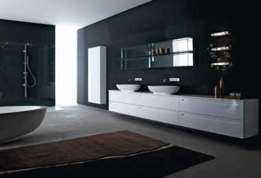 Sleek gloss white bathroom cabinetry from Rifra's Zero collection
