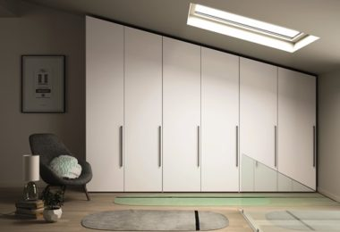 White Dallagnese built in door-fronted wardrobes
