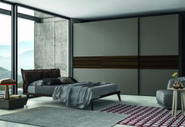 Grey Dallagnese sliding wardrobe with doors closed