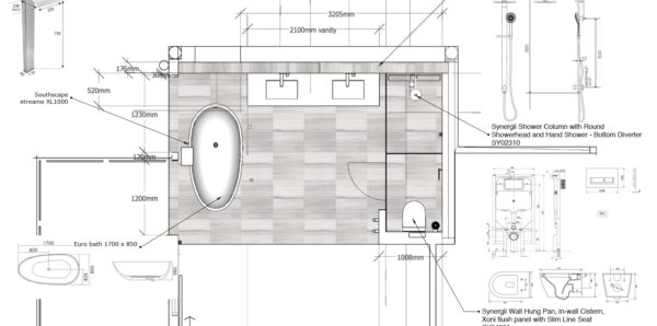 Main bathroom shop drawing